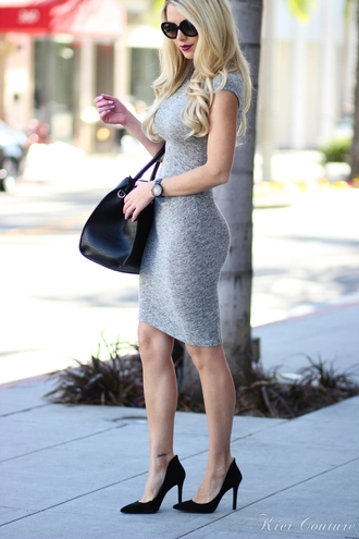 fashion addict blogger bodycon dress grey dress