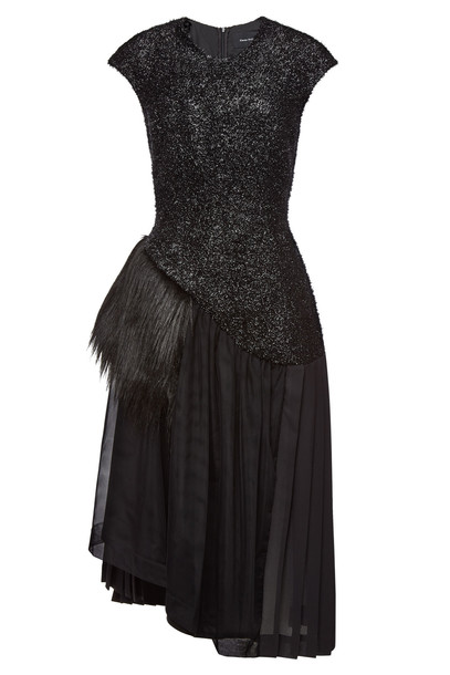 Simone Rocha Asymmetric Dress with Wool and Faux Fur  in black