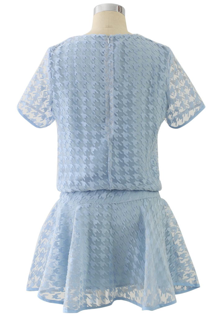 Sheer Blue Houndstooth Top and Skirt Set - Retro, Indie and Unique Fashion