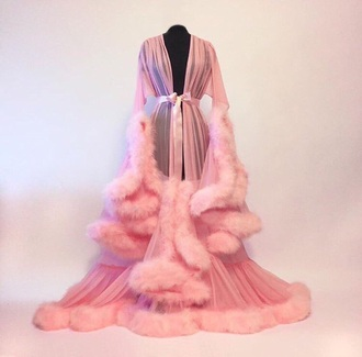 pajamas sexy pink robe coat fur fur robe fur trim pink robe silk robe chiffon robe glamour girly girl chiffon pink coat pjamas blouse