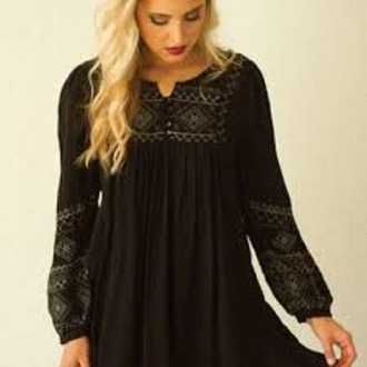 blouse black print tunic