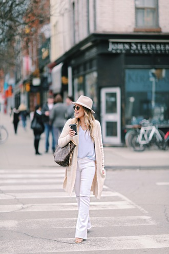 stephanie sterjovski - life + style blogger cardigan top shoes hat sunglasses bag louis vuitton bag spring outfits beige cardigan straight pants jeans white jeans felt hat
