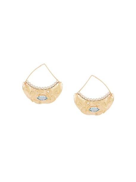 AURELIE BIDERMANN women earrings gold yellow grey metallic jewels