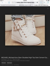 shoes,white zip up,gold and white,michael kors,fashion leather shoes