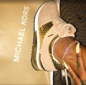 shoes,michael kors,gold,nude sneakers,michael kors shoes,low top sneakers,sneakers