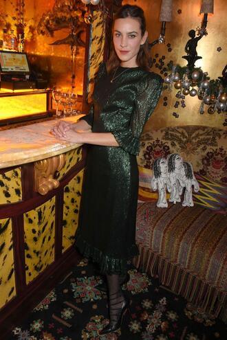 dress metallic midi dress alexa chung glitter emerald green