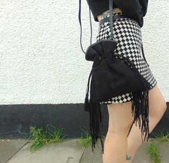 the velvet black grunge blogger bucket bag fringed bag black bag