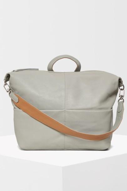 Topshop zip backpack leather grey bag