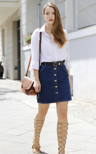 gold schnee blogger blouse skirt shoes bag sunglasses button up skirt