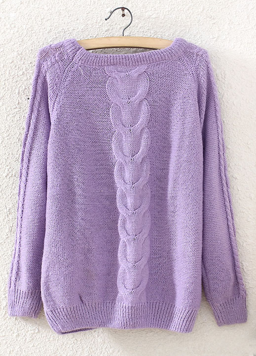 Pull-over en tricot au col rond -Violet