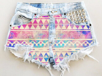 shorts purple high waisted shorts tribal pattern hipster spikes cut offs neon galaxy print acid wash pink light blue summer hot girl cute couleurs