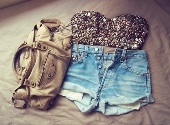 shorts glitter baige bag crop tops tube top high waisted denim shorts cut off shorts bag