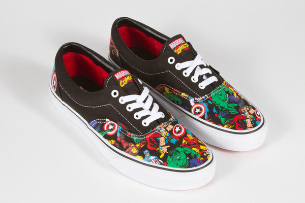 shoes vans marvel black red