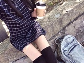 dress,blue dress,blue,black,blue and black,grunge,pale,indie,hipster,rock,tumblr,carreau,navy dress,tumblr outfit,office outfits,shirt,style,boyfriend