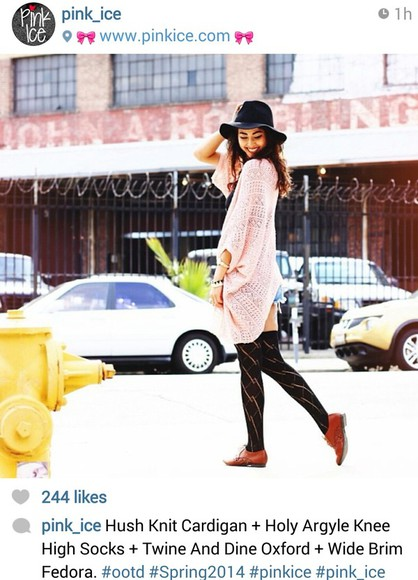oxfords hat pinkice knits big hat knitted cardigan oversized cardigan thigh high socks