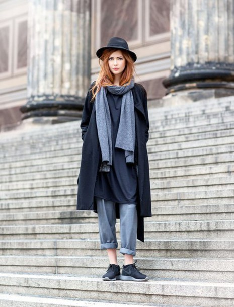 coat grey pants scarf hat women fashion simple dress