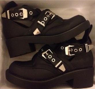 shoes black boots chunky belt studs studded