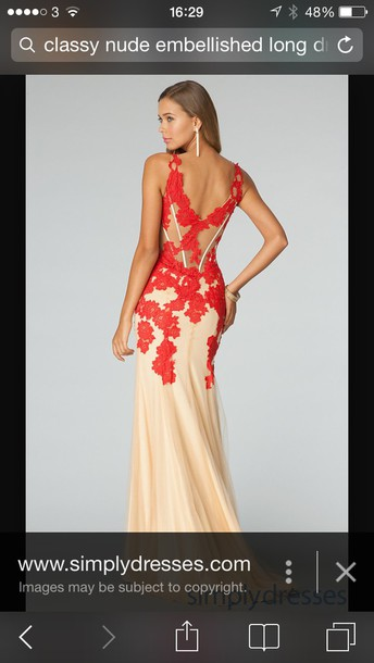 dress nude and red lace long dress