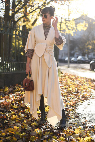 thank fifi blogger dress top leggings shoes bag jewels fall outfits maxi dress brown bag