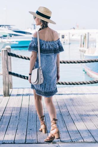 dress suede sandals tumblr mini dress off the shoulder off the shoulder dress blue dress stripes striped dress bag white bag sandals mid heel sandals suede