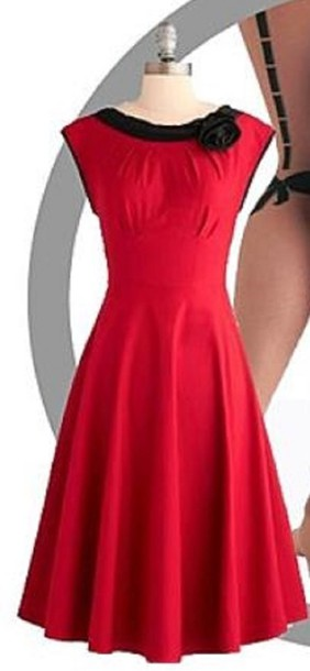 Dress Red Dress Mid Calf Length Fitted Waist Black Ribbed