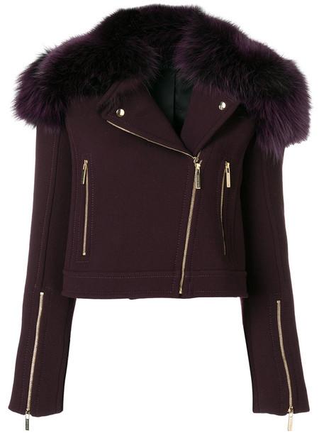 jacket biker jacket fur fox women wool purple pink
