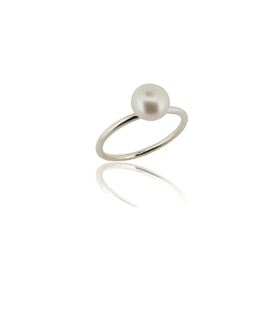 White Pearl Ring | Silver Ring | Silver Jewellery | Stack Rings | BOHEM