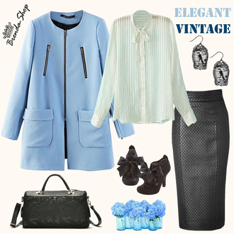 blue coat vintage retro blouse handbag fall outfits winter outfits spring outfits sheer blouse bow blouse black bag lace bag chic office outfits elegant blouse bag