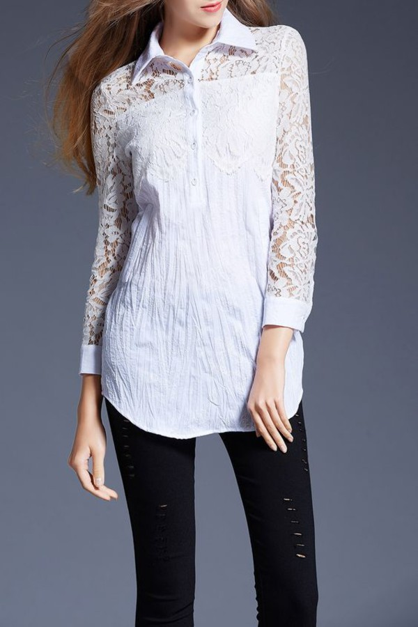 blouse dezzal lace top trendy white casual summer boho boho chic fashion