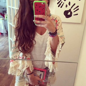 top kimono sheinside sheinside.com tank top white white top white tank top watermelon print jewels gold ring phone cover