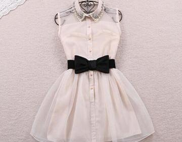 Cute pearl lapel gauze high waist d..