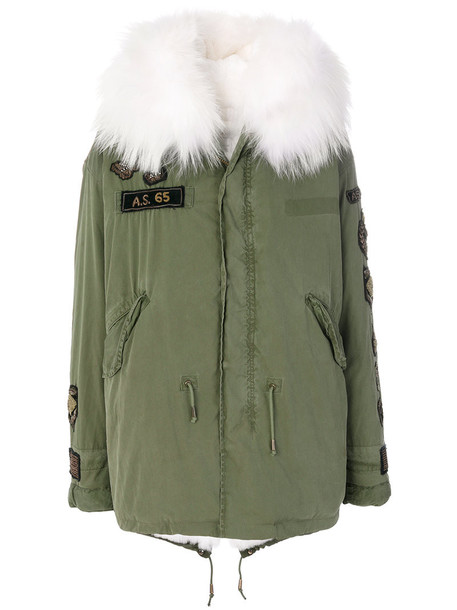 parka embroidered fur women leather cotton green coat