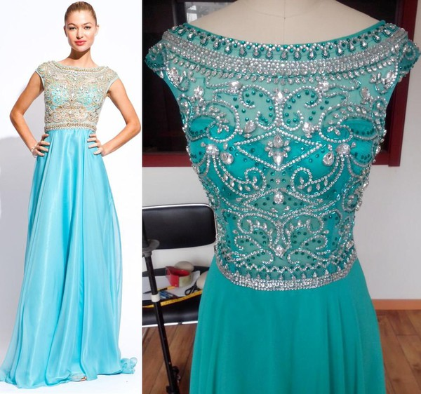 beaded dress prom dress 2014 new dress chiffon dress scoop neckline dress real photo dress free shipping dress sale dress dress
