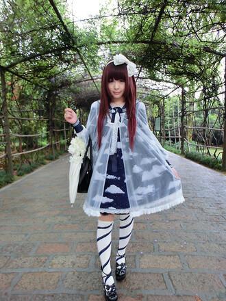 kawaii lolita lolita dress clouds navy chiffon peter pan collar kawaii dress long sleeve dress
