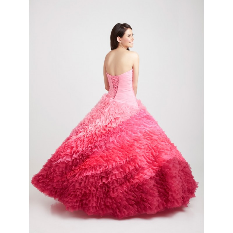 Ball Gown Sweetheart Appliques Ruffled Ruched Organza Long Pink Prom Dress