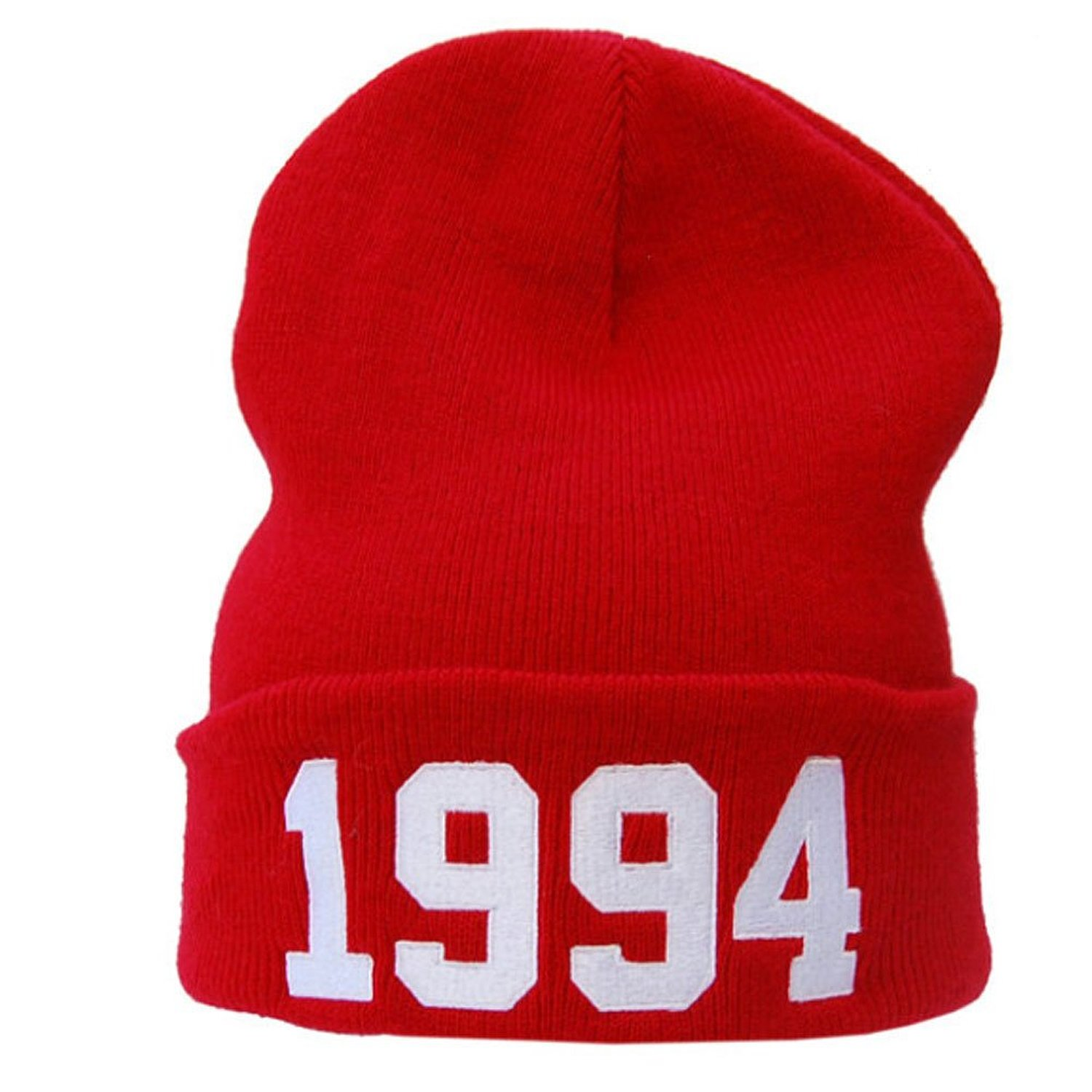 Amazon.com: Justin Bieber 1994 Knit Red Beanie Hat Letter Number Beanie: Clothing