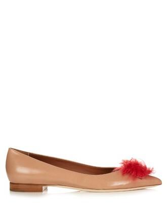fur pumps leather pink shoes