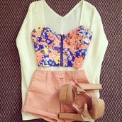 clothes,bralette,zip,flowers,floral tank top,floral,crop tops,bustier,High waisted shorts,sweater,shoes,shorts,oversized cardigan,bustier crop top,blouse,cream,shirt,color. highwaisted,tank top,cardigan,top,fashion,jacket,peach,peach shorts,floral bustier crop top,floral bustier,cute,summer outfits,cute shoes,cute high tops!,bandeau,t-shirt,floral crop top,pink shorts,high heels,white sweater,pink,knitwear,knit wear,white,heels,floral shirt,kimono,bag,blue,yellow,orange