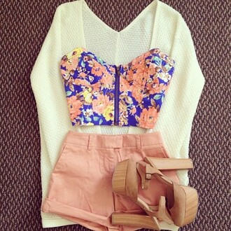 shorts pink cardigan knitwear knit wear white top bandeau floral shoes heels shirt floral shirt crop tops