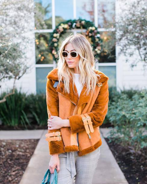 jacket tumblr shearling jacket shearling orange sunglasses winter jacket