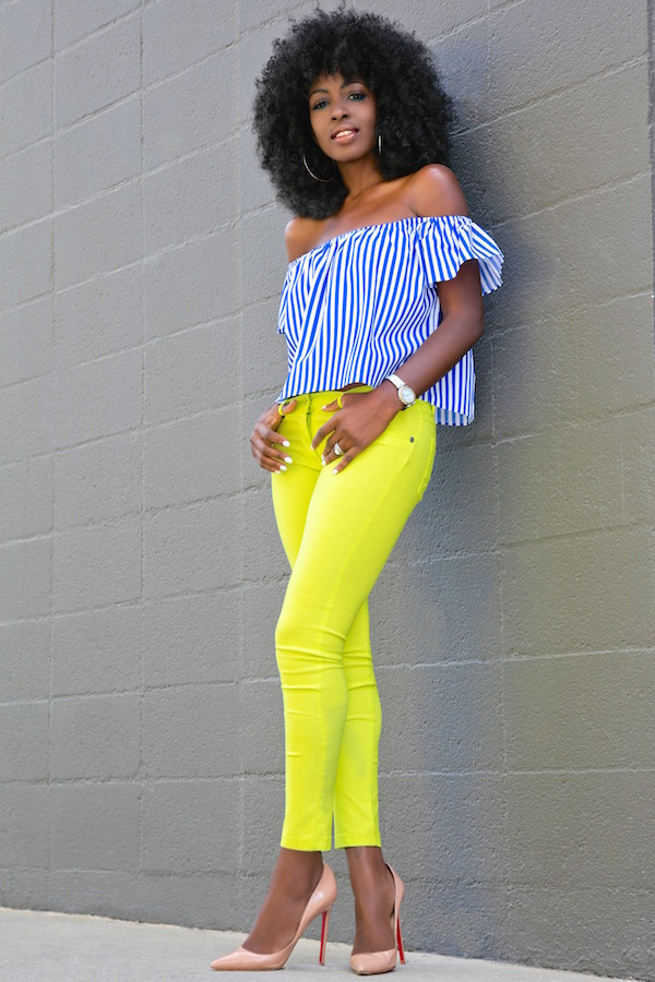 blogger shoes off the shoulder striped top blue top neon yellow yellow skinny jeans nude heels louboutin zara nordstrom yellow jeans striped off shoulder top blue off shoulder top stripes top off the shoulder top jeans nude pumps high heel pumps pumps pointed toe pumps spring outfits