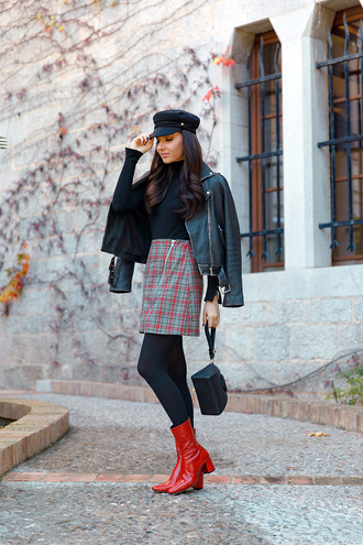 the mysterious girl blogger jacket skirt tights shoes bag jewels black leather jacket leather jacket fall outfits boots red boots mini bag givenchy bag
