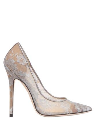pumps lace floral silver shoes