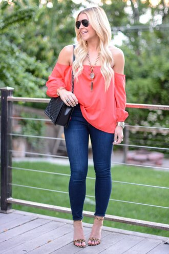 all dolled up blogger top jewels sunglasses bag shoes red off shoulder top red top off the shoulder off the shoulder top necklace black boots shoulder bag aviator sunglasses blue jeans jeans spring outfits animal print high heels sandals sandal heels high heel sandals