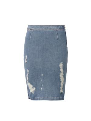 Le High distressed denim pencil skirt | Frame Denim | MATCHESF...