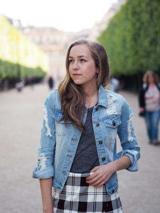 a cup of style blogger ripped denim jacket