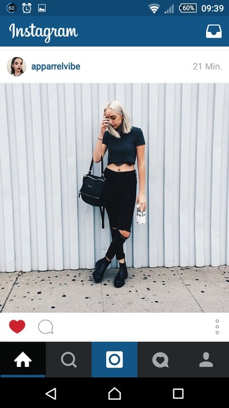bag leather bag crop tops black ripped jeans knee ripped pants black pants chunky boots chunky heels
