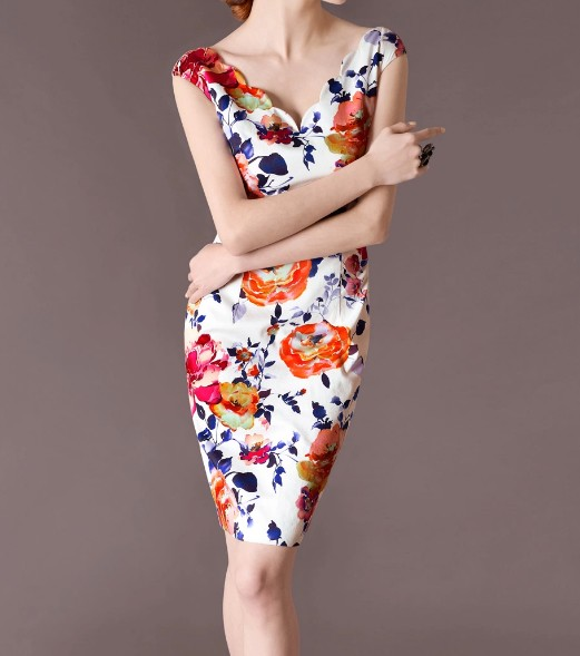 Floral Pattern Elegant Noble Summer OL Slim Women Fashion Dress lml7047 - ott-123 - Global Online Shopping for Dresses