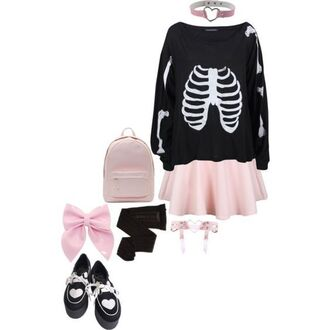 sweater black sweater bones sweater bones pink skirt pink bow skirt jewels shoes