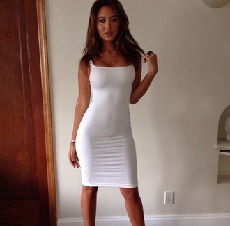 dress bodycon white summer dress midi dress midi bodycon dress tight dress white dress